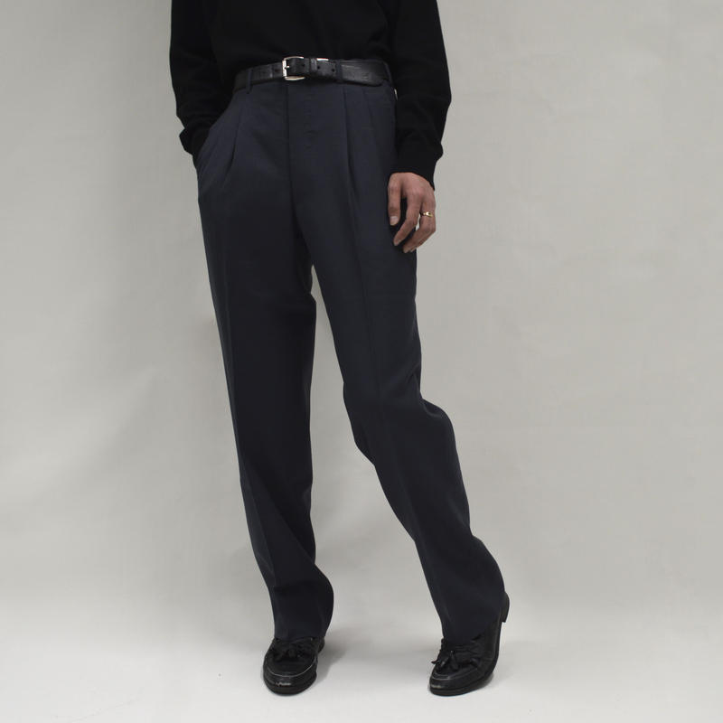2-tuck wide plane pants / gray [P-0002]