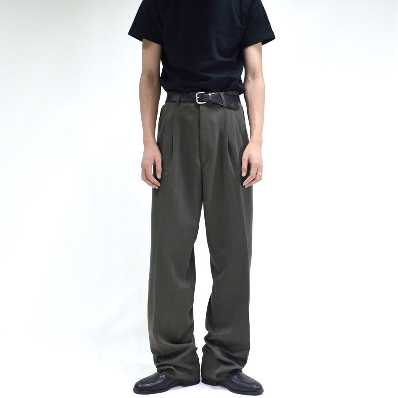 2-tuck wide stripe slacks / green[P-0020]