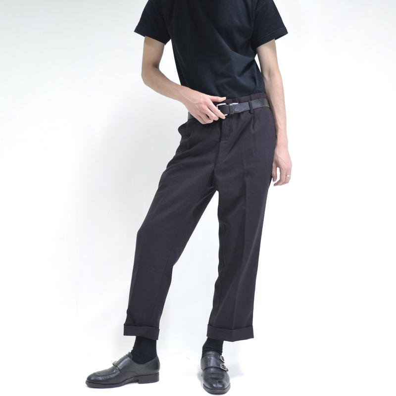1-tuck v-slit slacks / purple[P-0019]