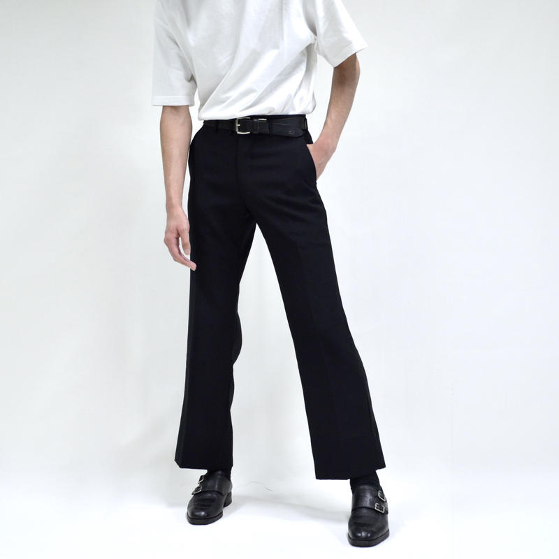 tuck-less slim straight  pants / black [P-0032]