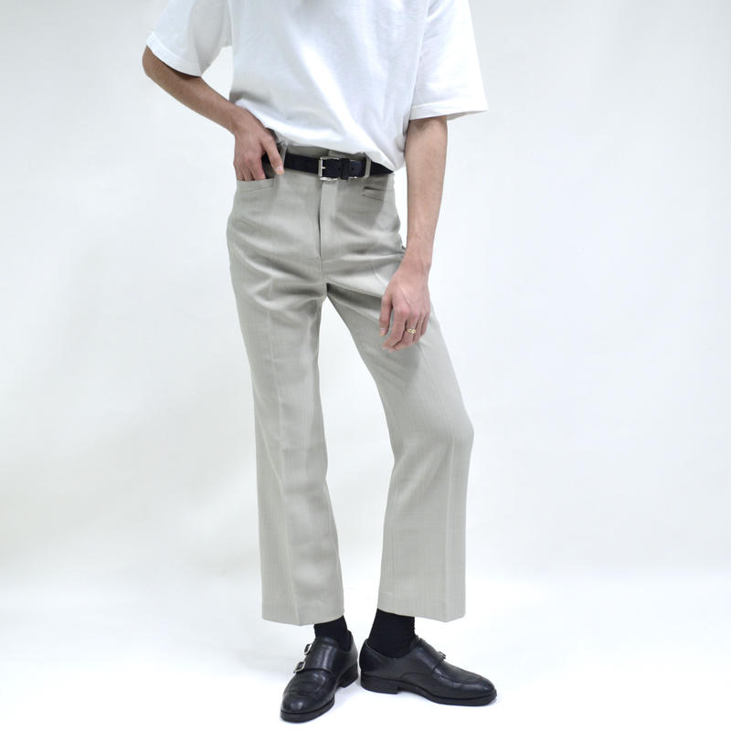 pocket design slim straight pants / white [P-0042]