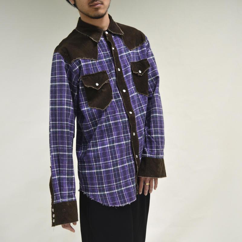 western-like cut-off purple shirt [T-0020]