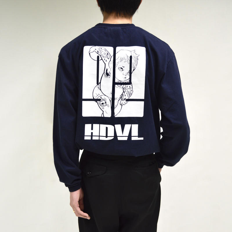 back illustration printed long sleeve shirts[T-0039]
