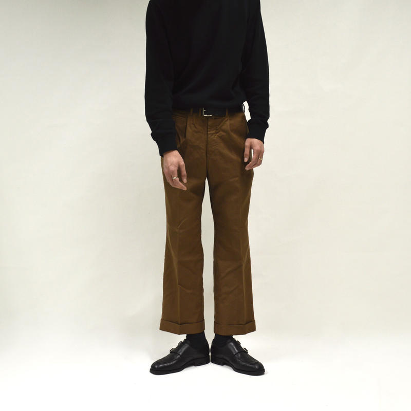 1-tuck coin pocket wide slacks / beige[P-0017]