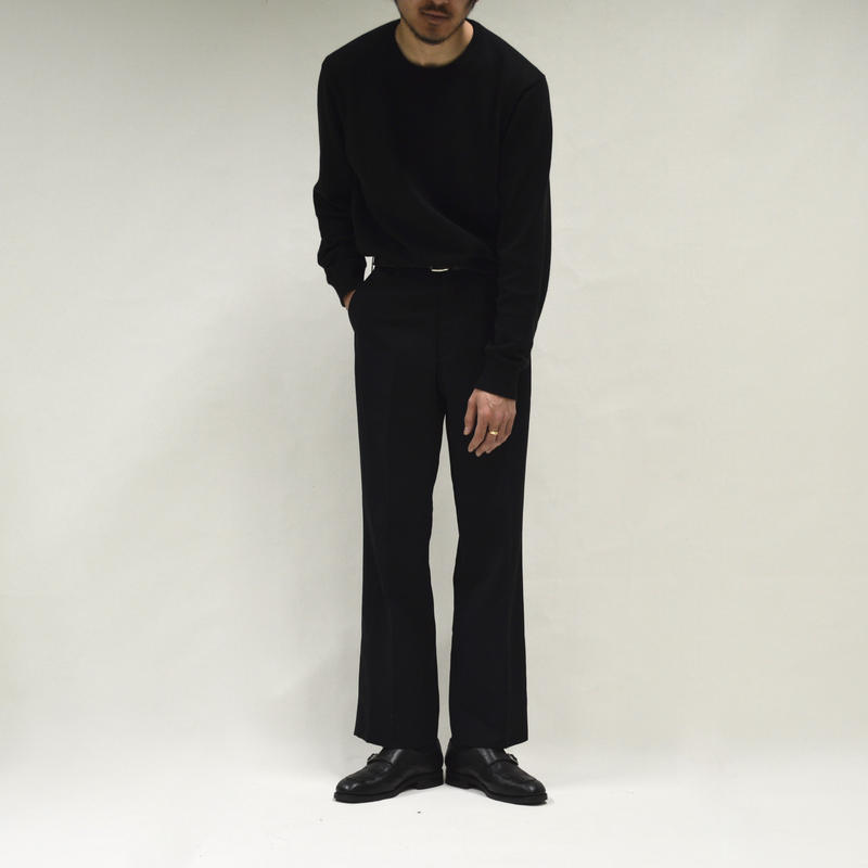simple straight slacks / black[P-0022]