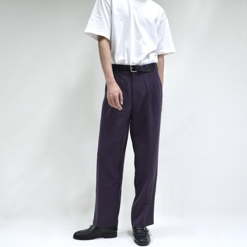 2 tuck straight wide pants / purple [P-0035]