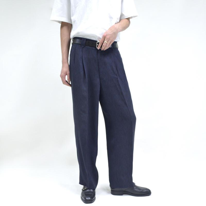 """2 tuck """"light"""" wide pants / navy [P-0027]"""