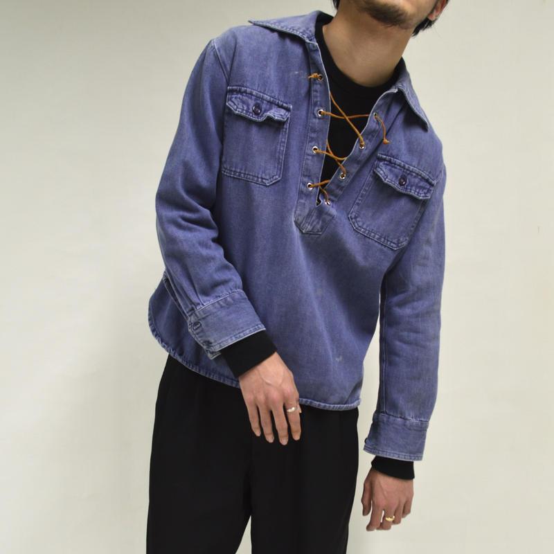 Denim Lace-up Shirt [T-0021]