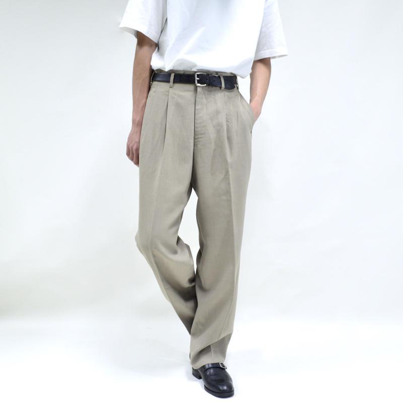 """2 tuck """"light"""" wide pants / beige [P-0028]"""