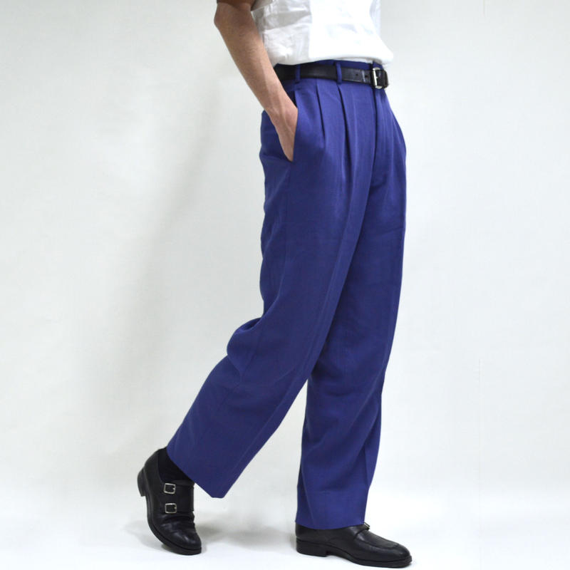 2 tuck  wide pants / purple [P-0025]