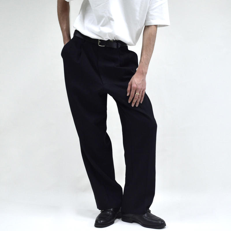 2 tuck straight wide pants / black [P-0040]