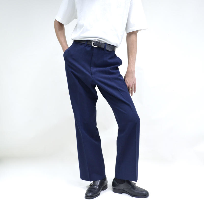 no tuck straight wide pants / navy [P-0029]