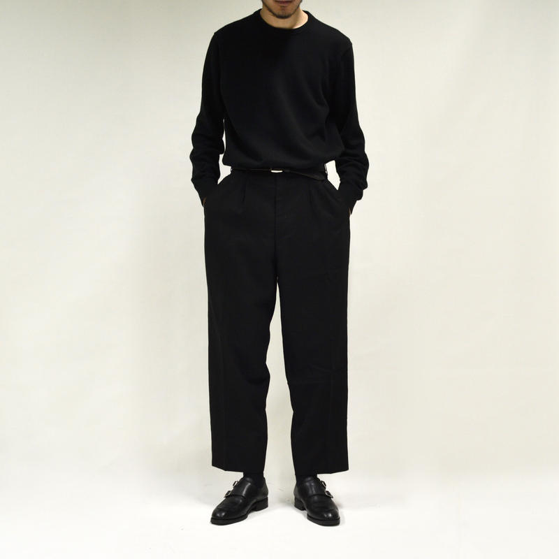 2-tuck wide wool slacks / black[P-0021]