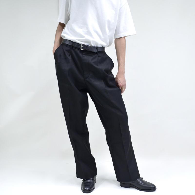 2 tuck adjustable wide pants / black [P-0039]
