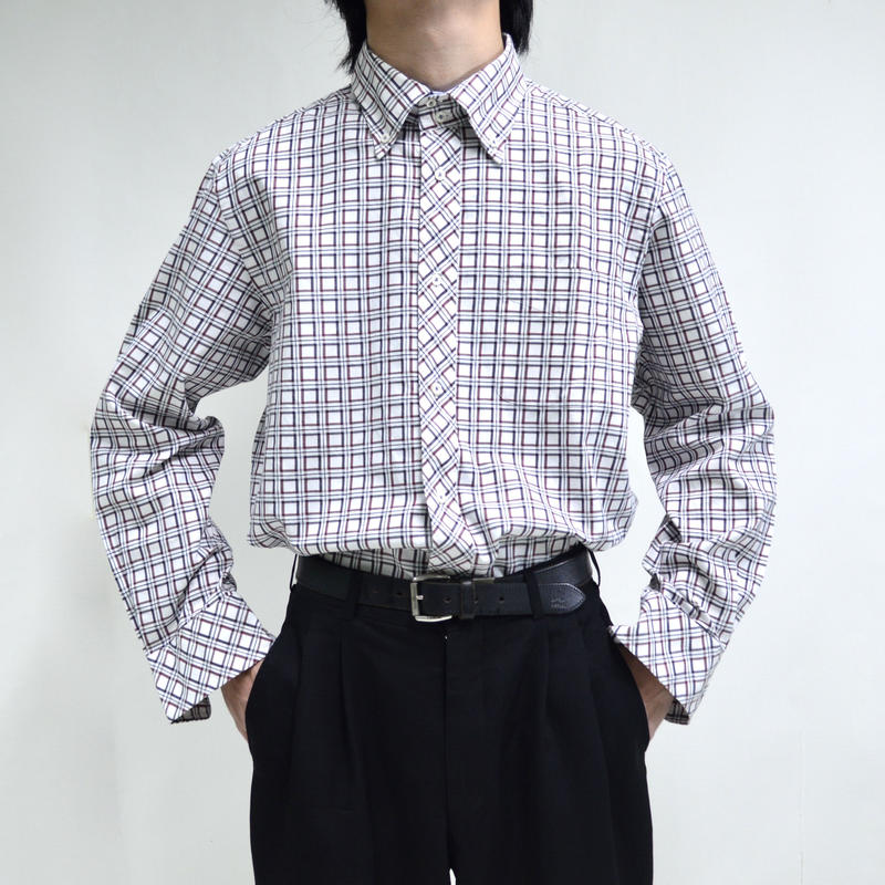 button-down plaid pattern shirts [T-0052]