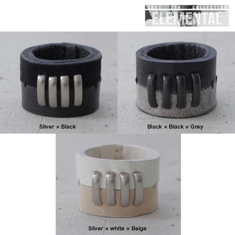 BI COLOR 4 bars leather ring