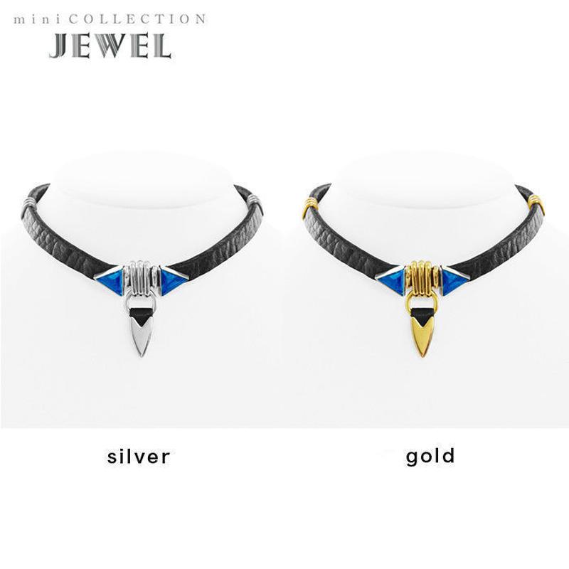 TUSK jewel choker (black × blue)