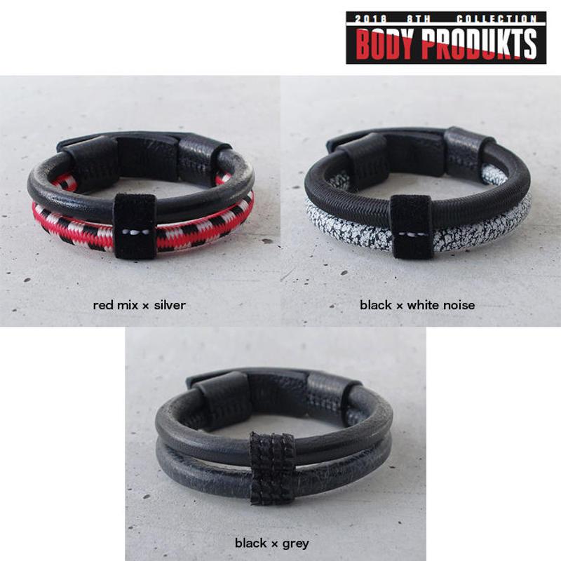 SHOCK CODE & leather double bracelet