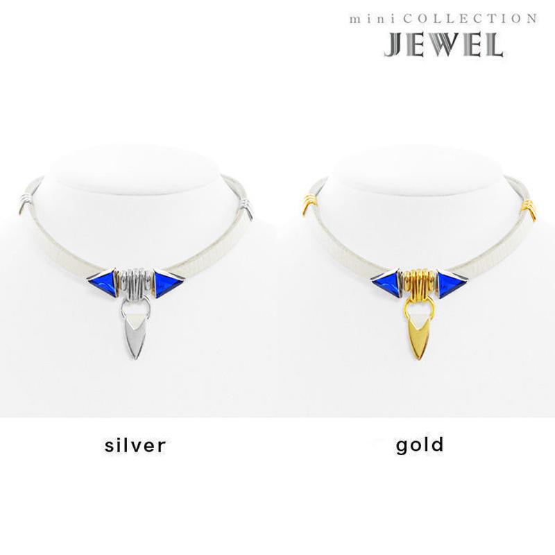 TUSK jewel choker (white × blue)