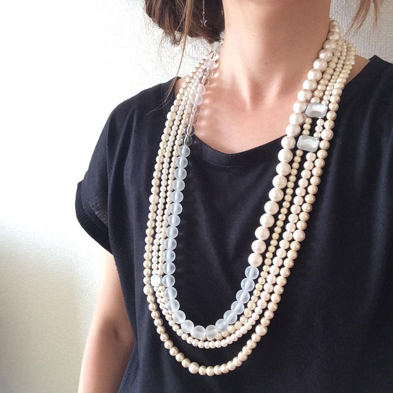 cotton pearl long 4 necklace