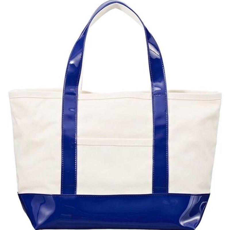 エナメル×帆布トートバッグ BLUE