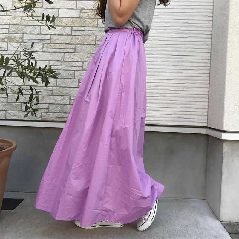 cotton100%ラベンダーマキシスカート