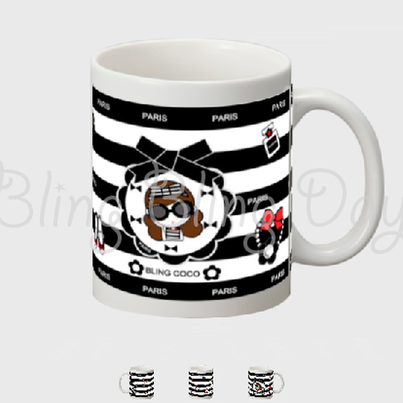 【MC001】マグカップ:黒おリボン枠 サングラスCOCOちゃん&アイテム 黒白ボーダー