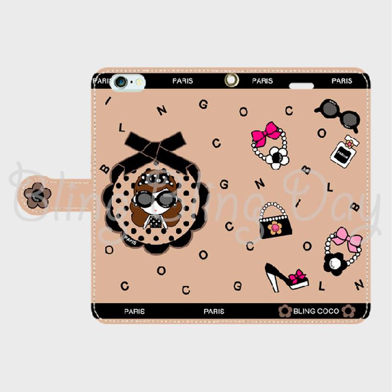 【TC001】手帳型スマホケース:黒おリボン枠 サングラスCOCOちゃん ベージュ×BLINGCOCO
