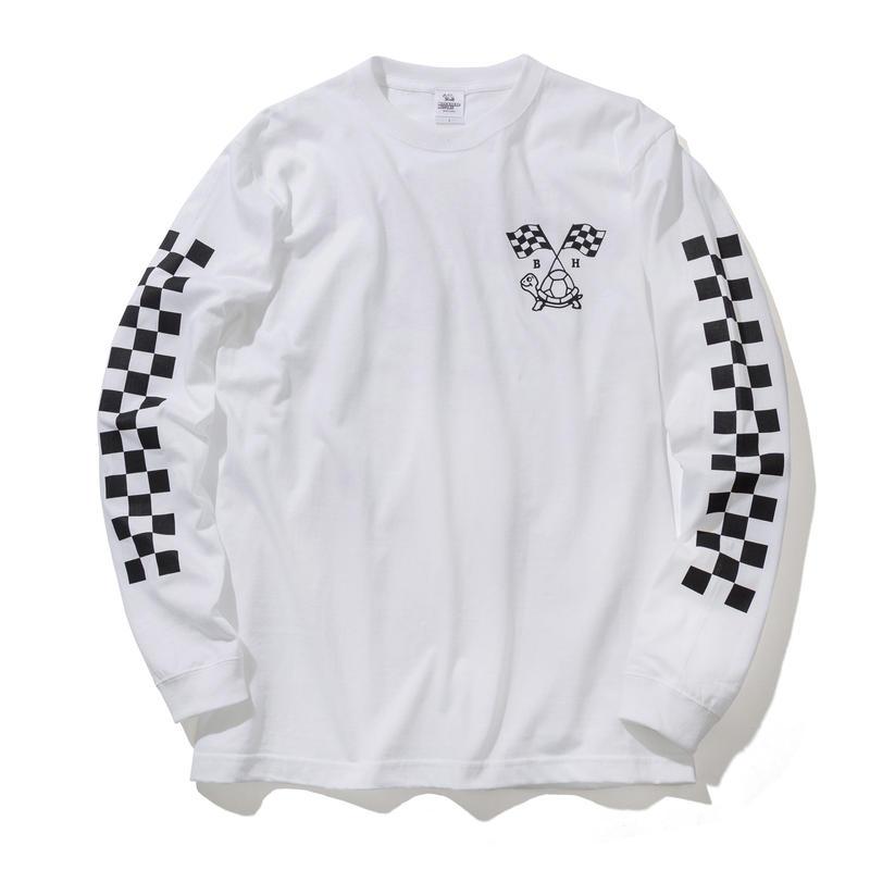 BLOCKHEAD MOTORS ロングスリーブTシャツ(ホワイト)/ LONG SLEEVE TSHIRT WHITE