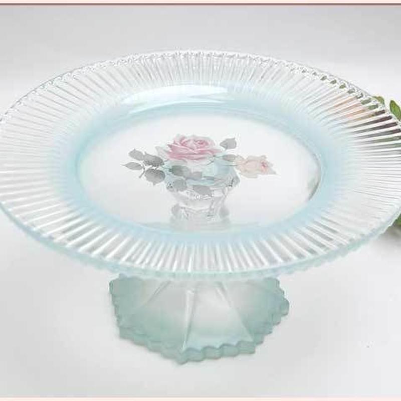 プラン・ド・パリ ロゼット ガラスコンポートLサイズ 【薔薇雑貨 果物 皿 ガラス食器 ブルー ぼかし 薔薇柄 花柄 アンティーク レトロ 欧風 ヨーロッパ】