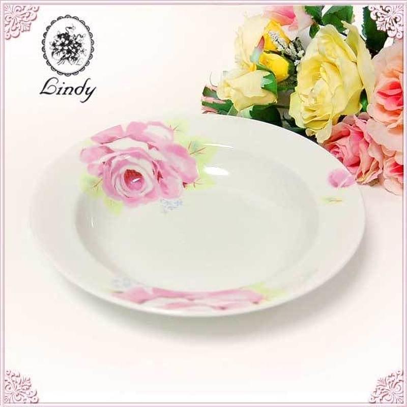 ■薔薇の食器Lindy(リンディ)シャルール パスタプレート 深皿【大輪のピンクローズがテーブルを引き立てます】