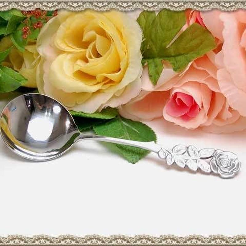ローズデザイン クリームスプーン ステンレス サテン仕上げ 【薔薇雑貨 洋食器 カトラリー ポタージュ 薔薇柄 バラ柄】