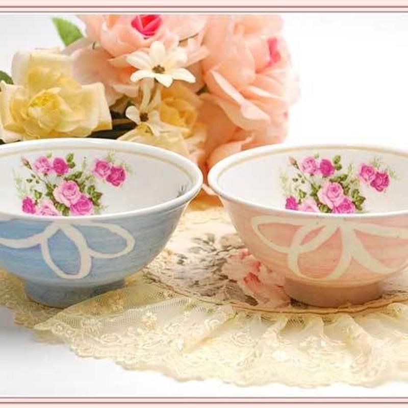 ■プラン・ド・パリ アンジェリカ 軽量ごはん茶碗 うららかピンク/ブルー【薔薇雑貨 和食器 バラ柄 花柄 ご飯茶碗 ごはんちゃわん ご飯茶わん 薔薇柄 ローズブーケ】