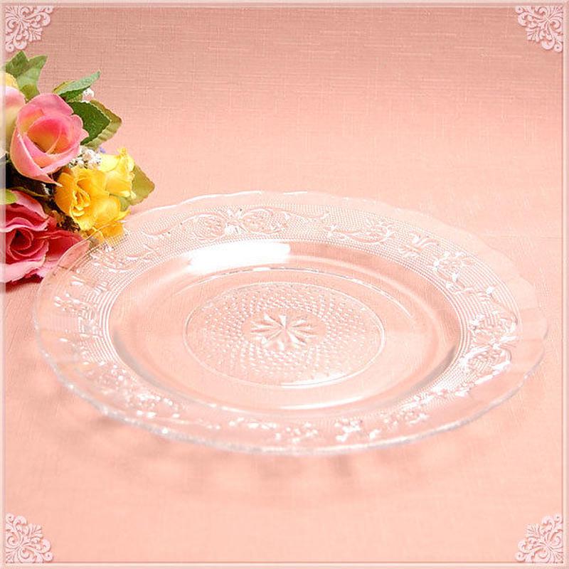 【リーズナブルプライス!】■カットガラスディナープレート25cm【アンティーク 薔薇雑貨 カット クリスタル】  のコピー