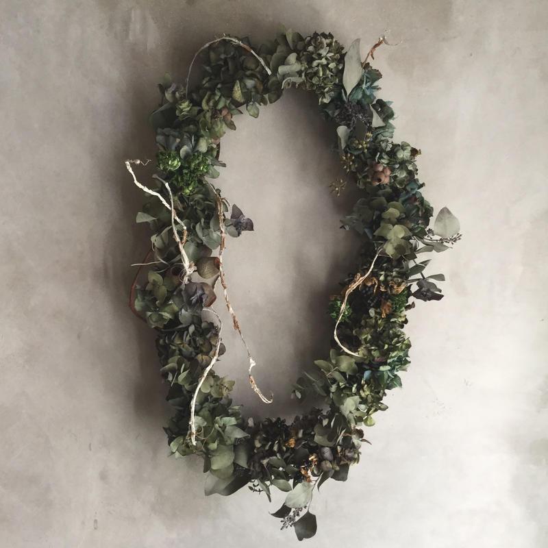Dried Hydrangea Flower Wreath(アンティーク紫陽花のドライリース)