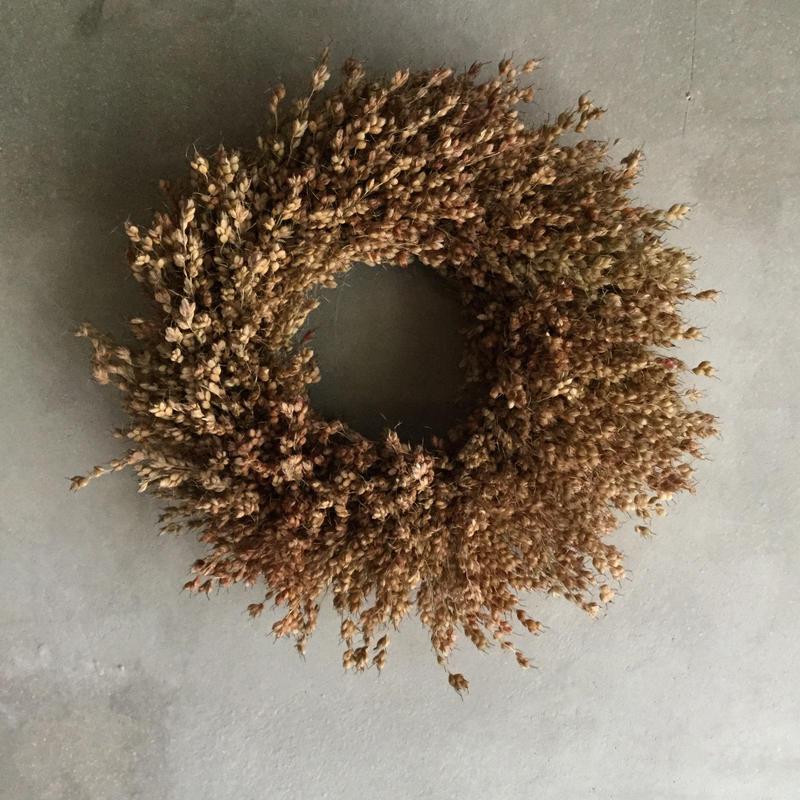 Dried Broom Corn Wreath (玉すだれのドライリース)