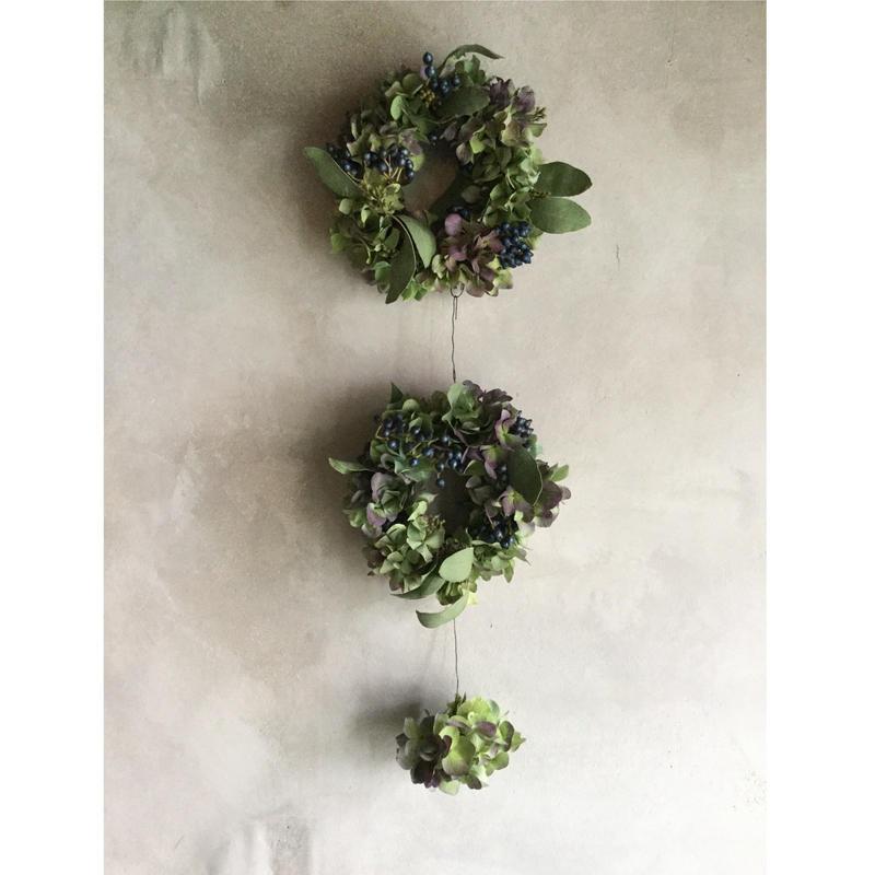 Autamn Hydrangea 3-Separate Wreath (秋色紫陽花の3連セパレート リース)