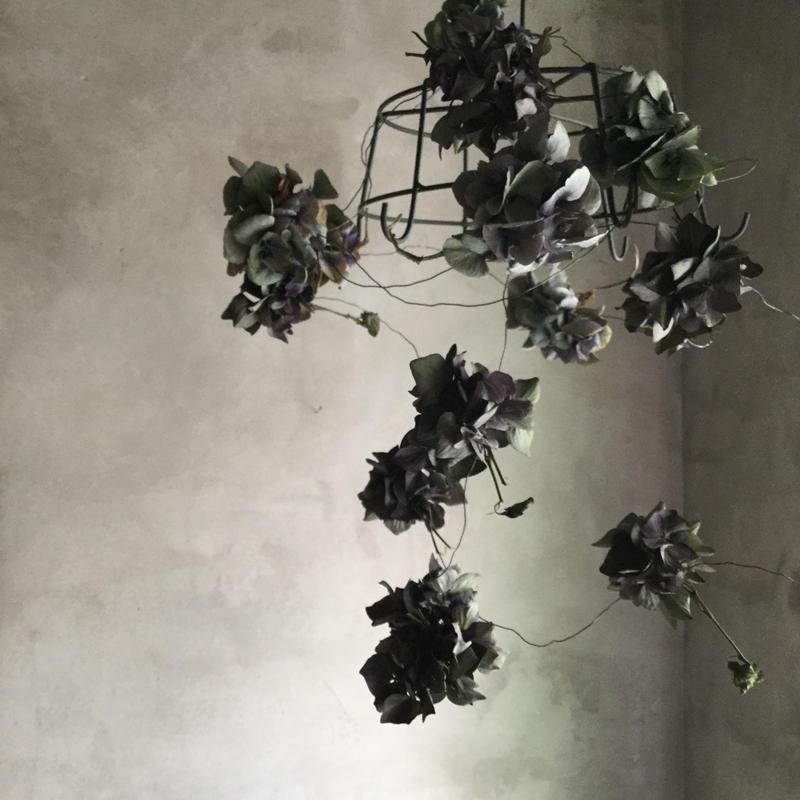 Iron Flower Hanger with Dried Hydrangea(アイアンフラワーハンガー・紫陽花ガーランド付き)