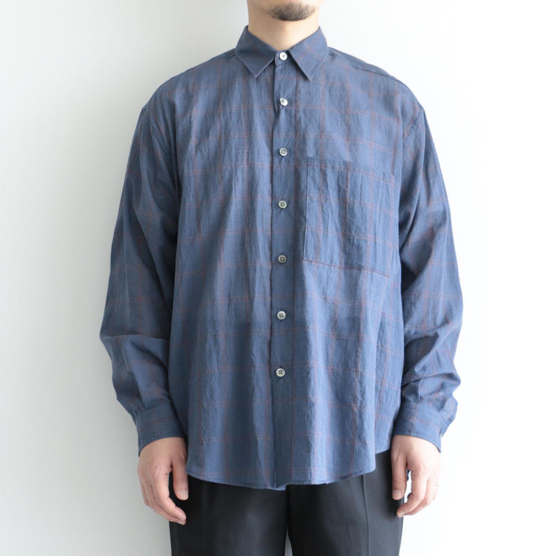 AURALEE / SUPER LIGHT CHECK BIG SHIRTS(men's/ NAVY WINDOWPANE )