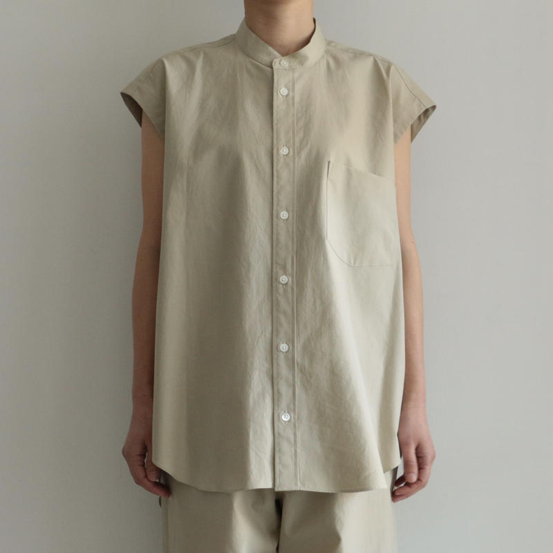 AURALEE / WASHED FINX TWILL SLEEVELESS SHIRTS(lady's/ LIGHT GREEN)