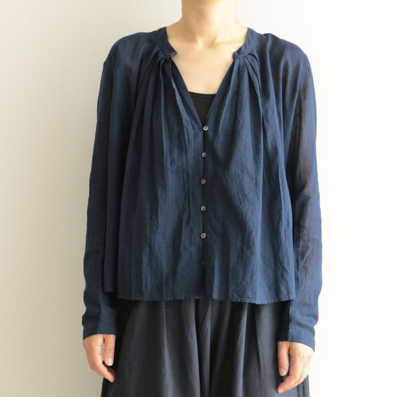 Khadi and Co / long  sleeve  tack blouse(lady's /DK.INDIGO)