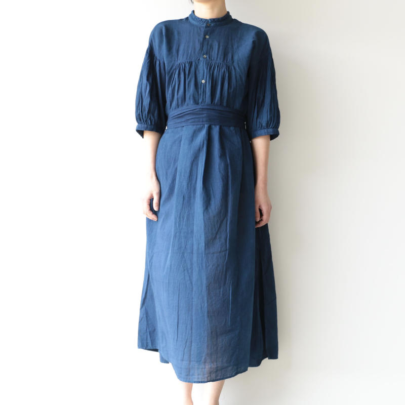 COSMIC WONDER /Khadi cotton mandarin collar dress(lady's /RYUKYU INDIGO)