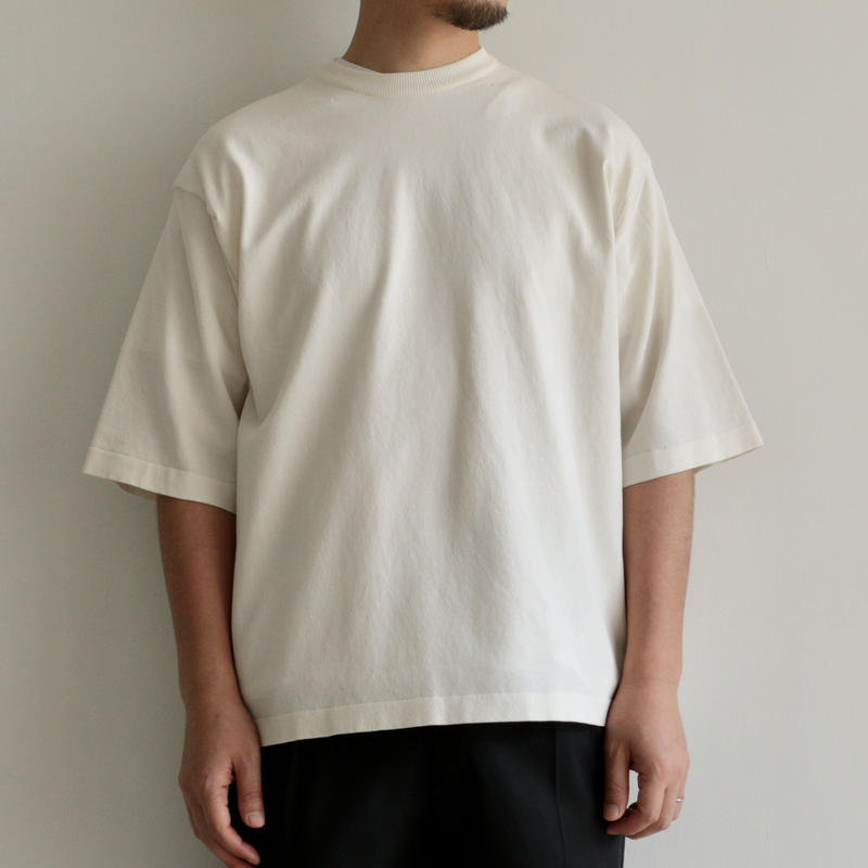 AURALEE / SUPER HARD TWIST KNIT BIG TEE(men's/ WHITE)