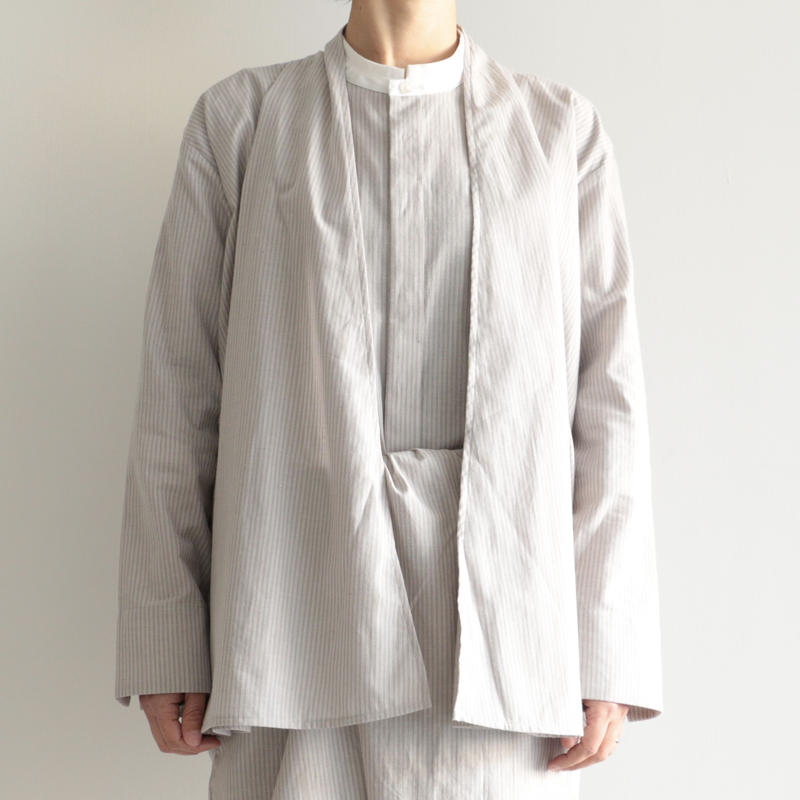 COSMIC WONDER /  Light linen haori shirt(lady's/GRAY STRIPE )