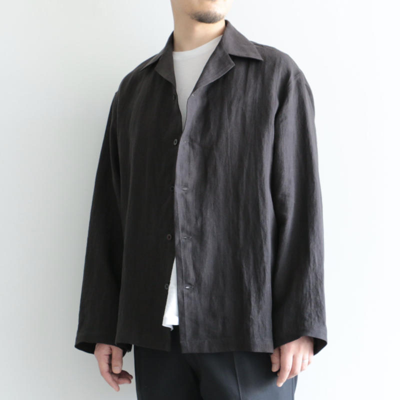 AURALEE / LINEN GABARDINE OVER SHIRTS(men's/BLACK )
