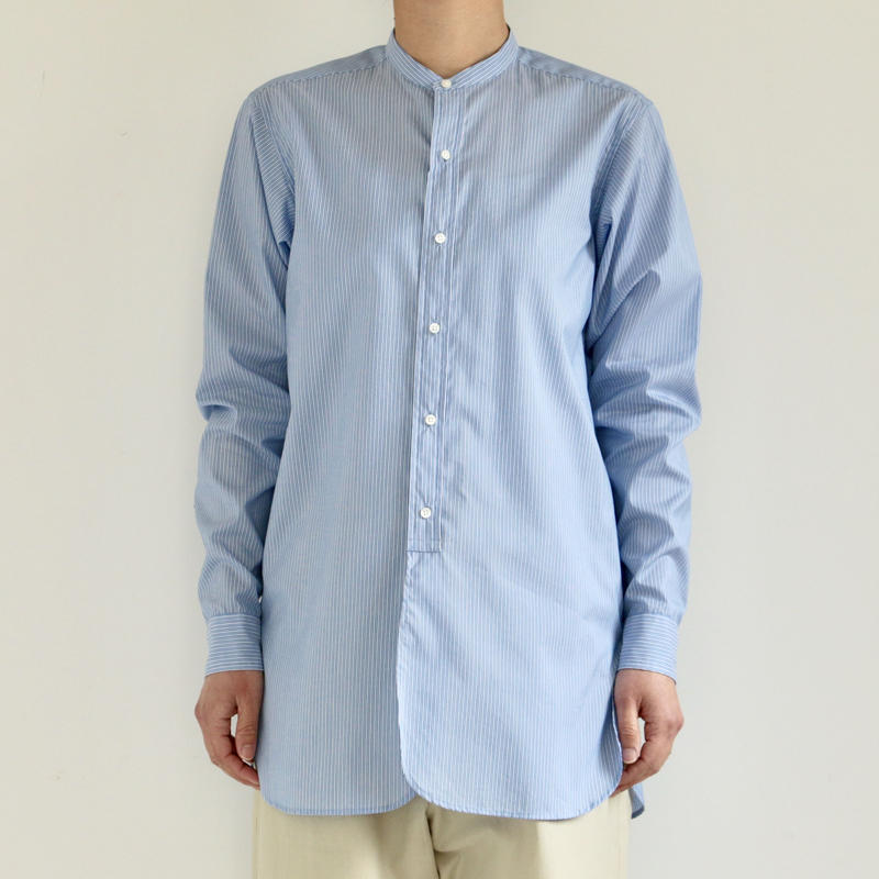 AURALEE / FINX SILK STRIPE BAND COLLAR SHIRT(lady's/ BLUE STRIPE)
