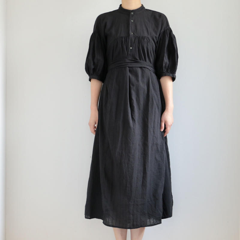 COSMIC WONDER /Khadi cotton mandarin collar dress(lady's /BLACK)