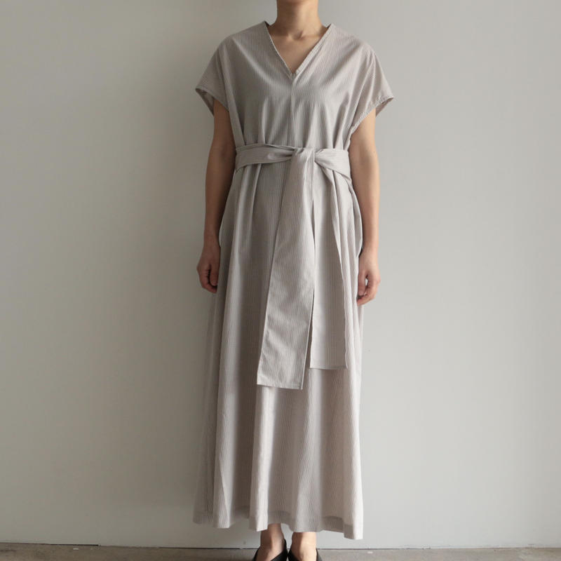 COSMIC WONDER /  Light linen ancient dress(lady's/GRAY STRIPE )
