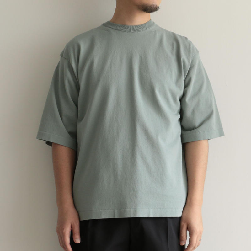 AURALEE / SUPER HARD TWIST KNIT BIG TEE(men's/ BLUE GREEN)