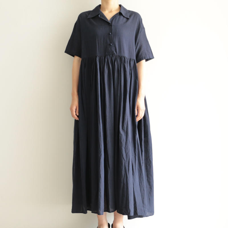 Khadi and Co / gather dress(lady's /DK.INDIGO)